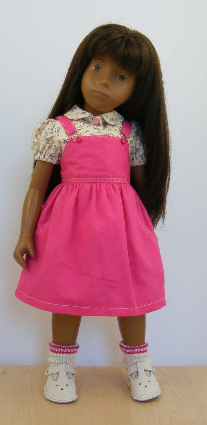 Sasha Doll Cerise Pinafore Dress and Blouse Outfit
