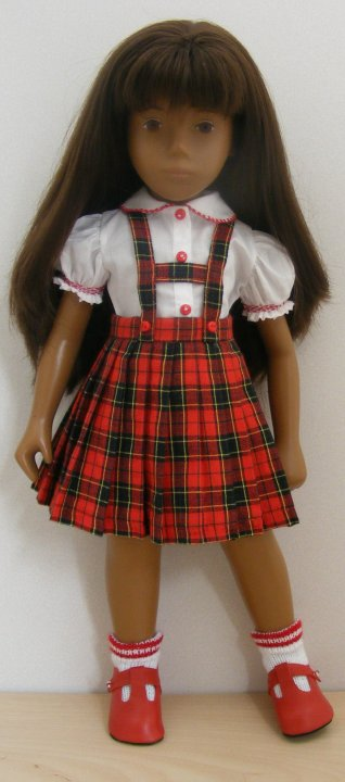 Sasha Doll Pleated Red Tartan Outfit